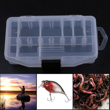 Fishing Lure Box Double Sided Ten Compartment Transparent Box Wooden Shrimp Fishing Bait Box Plastic Fishing Tool Tackle Boxes