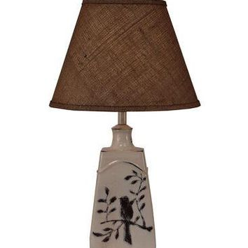 Tapered Bird On Branch Pot Table Lamp