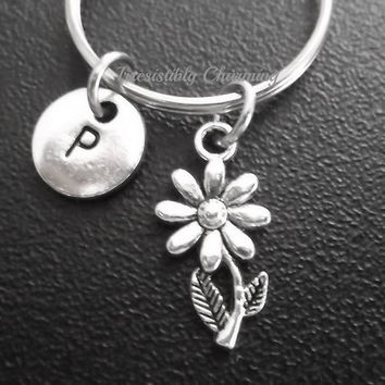 Sale.... Small sunflower keyring, keychain, bag charm, purse charm, monogram personalized custom gifts under 10 item No.687