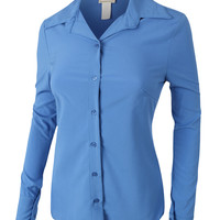 LE3NO Womens Lightweight Loose Button Down Shirt Blouse (CLEARANCE)