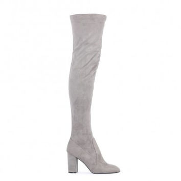 NATALIA SQUARE TOE LONG BOOTS IN GREY FAUX SUEDE