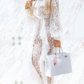 All These Years Sheer Guipure Lace Lantern Long Sleeve Ruffle Cut Out Tie Neck Plunge V Jumpsuit - 2 Colors Available