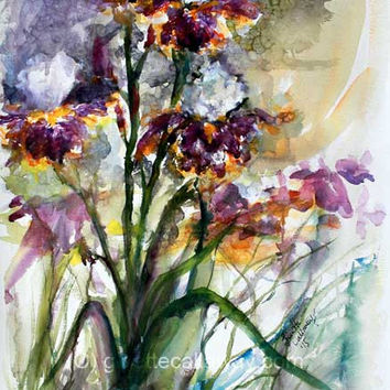 Bearded Irises Original Watercolor Painting