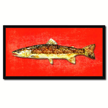 Brown Trout Fish Art Red Canvas Print Picture Frames Home Decor Nautical Fisherman Gifts