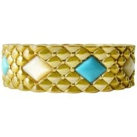Italian Turquoise Mother-of-Pearl Gold Hinged Bracelet
