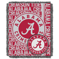 Alabama Crimson Tide NCAA Triple Woven Jacquard Throw (Double Play Series) (48x60)