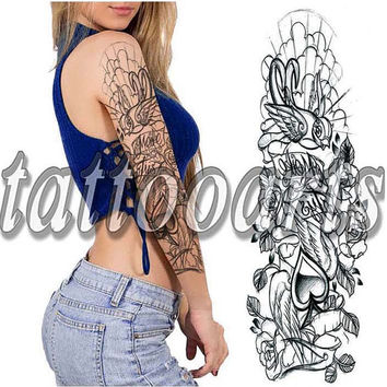 Bird and rose design full arm sleeve temporary tattoo body art makeup sticker non toxic #10559