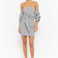 Glen Plaid Off-the-Shoulder Dress