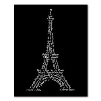 Eiffel Tower Typography - Paris France - Typography Wall Art - Paris Art - Travel - Versailles - Travel - French Theme - Black and white