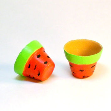 Set of Miniature Clay Pots Painted like Watermelons Fairy Garden Dollhouse Accessories