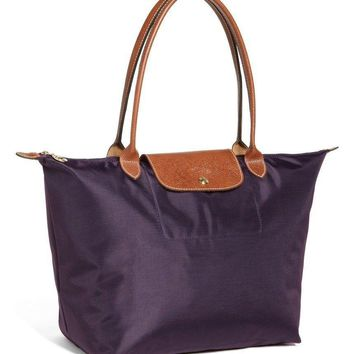 Longchamp Large 'Le Pliage' Purple Nylon Handbag Tote