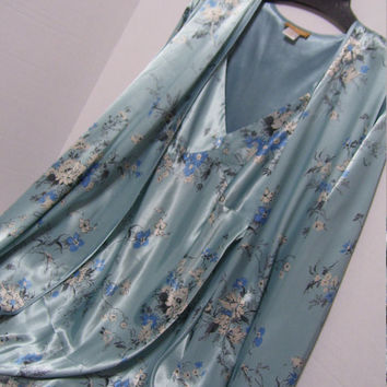 Long Robe Night Gown Peignoir Set, Blue Floral Luxurious Liquid Charmeuse Satin Bridal Honeymoon Resort Cruise Wear