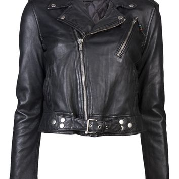 Blk Dnm Cropped Motorcycle Jacket