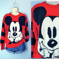 Mickey Mouse Sweater / 1980s Slouchy Disney Sweater