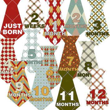 INSTANT DOWNLOAD- 14 Argyle Ties Diamond Pattern Blue Green Red Tan Yellow Baby Boy Monthly Milestone Onesuit Stickers Newborn Shower Gift