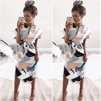 V Neck Flower Print Mid Dress Short Sleeve Tie Waist Dress Women Fashion Clothes Drop Shipping