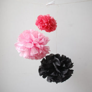 Pink and Black Pink and Boysenberry Pom Poms Bachelorette Party Baby Shower Wedding Paris Decor - Sets of (5)
