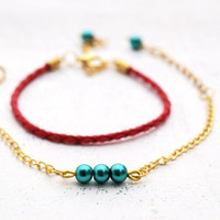 Dainty Beaded Red ,Gold and Green Pearl Bracelet ,Set of 2