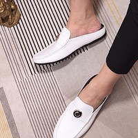Gucci Men Leather Fashion Signature Driver Casual white Shoes sandals Best Quality