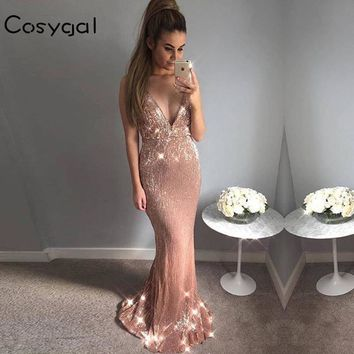 COSYGAL New Sequin Maxi Long Dress Elegant Women Evening Summer Gold Party Dresses Sexy Mesh Backless Night Black Vestidos