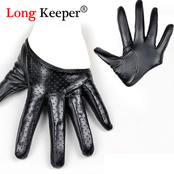 Elegant Women Sexy Gloves Female Half Palm Leather Gloves for Women for Fitness Party Show Mittens 2016 New GLP106