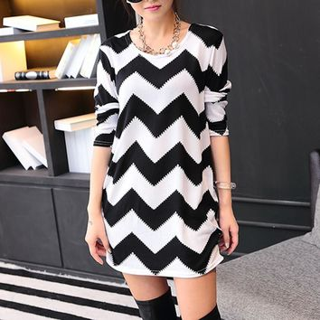 Thin 2018 Fashion Women autumn winter Pullovers Sweaters casual loose sweater print tunic good quality white patchwork striped