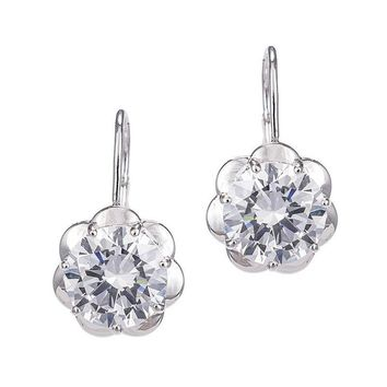 Round Drop Earrings with Petal Mounting