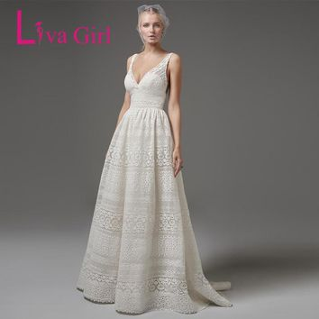 Liva Girl White Elegant Lace Party Dress Sexy V Neck Sleeveless Women Backless Maxi Dresses Prom Gown Longo Vestido De Festa