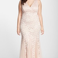 Plus Size Women's Xscape Lace Mermaid Gown with Godet Insets