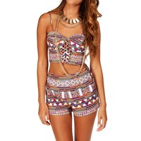 Orange Tribal Crop Bustier