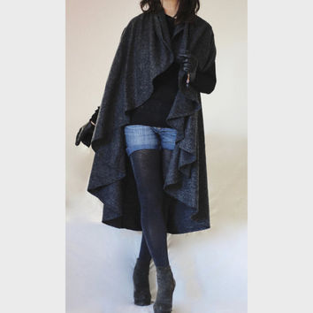 Winter Wool Cardigan Cap Coat Poncho/ Plus Size Cascading Coat Cardigan / Hoodie Poncho / Sleevless Coat