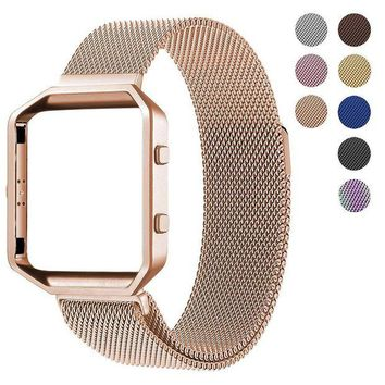 VONW3Q For Fitbit Blaze Accessory Band,Small (5.5-6.7 in),Oitom Frame Housing+Milanese loop Stailess Steel Band for Fitbit Blaze Smart Watch Fitness Tracker Women Rose Gold