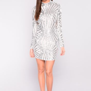 A Night In Italy Sequin Dress - Silver