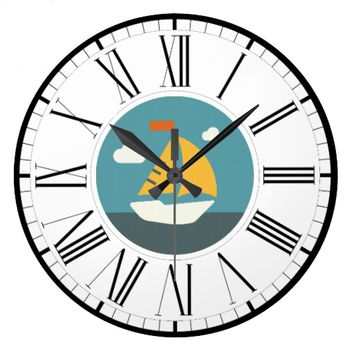 Sail Boat, Coastal Design Wall Clock