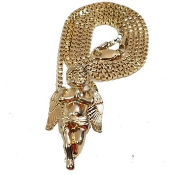 """Praying Angel Folded Hands Charm 2mm Gold Tone Chain & Micro Pendant Set With 24"""" Box Link Necklace."""