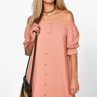Off-Shoulder Button Down Mini Dress