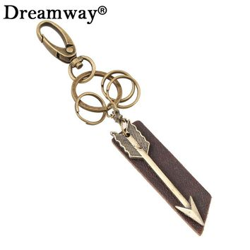 Unique Antique Bronze Key Charm Arrowhead Keychain Bag Charm Retro Special Jewelry Mens Cool Punk Key Chain Leather Jewelry
