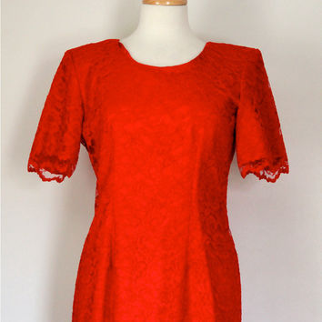 Vintage 80s Dress / Red Lace Frock / My Michelle / Evening Party Festive Cocktail Wedding Dress