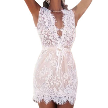2016 Summer White Lace Sexy Deep V Neck Dress Summer Women Beach A-Line Full Lace Dresses Drawstring Waist Short Dress R2