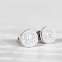 Iridescent Sparkle Post Earrings - Hypoallergenic Studs