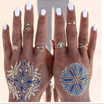 CREYU3C 7PCS Vintage Beach Punk Elephant Moon Arrow Ring Set Ethnic Carved Antique Silver Plated Snake Finger Ring Knuckle Charm 3375