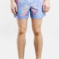 Men's Topman 'Purple Paint' Print Swim Trunks