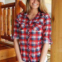 Electric Lights Red Plaid Top