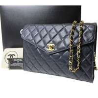 CHANEL Matelasse Quilted Chain Shoulder Bag Navy Leather Vintage Auth #8589 M