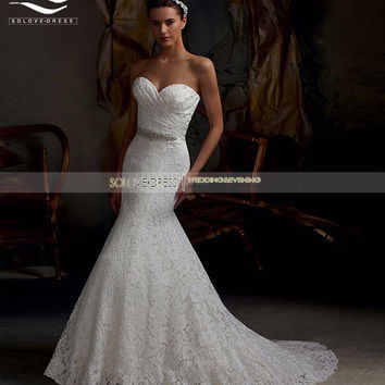 Elegant Mermaid Lace Wedding Dress Sweetheart Bridal Gown vestido de noiva Casamento W08