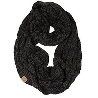 C.C. Warm Knit Infinity Loop Scarf in Onyx Mix