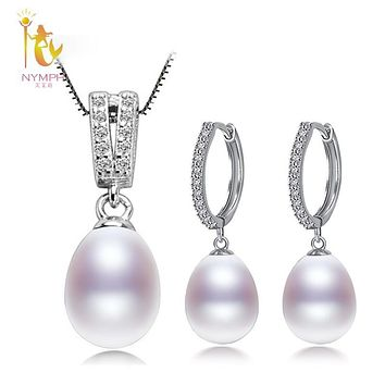 NYMPH Pearl Jewelry Set Natural Freshwater Pearl Necklace Pendant Earrings Wedding Party For Women Gift T229