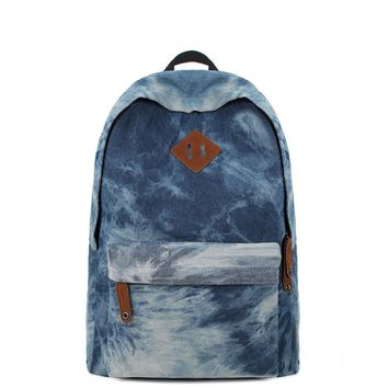 Juice Action Unisex Denim Dye Backpack Canvas Backpack School Bag