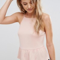 Miss Selfridge Peplum Hem Cami Top at asos.com