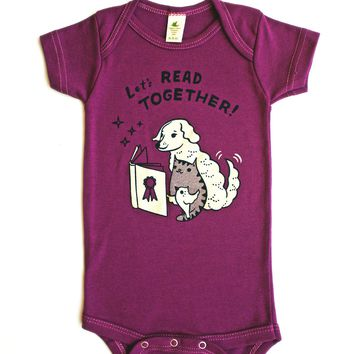 Baby Storytime Onesuit -- Let's Read Together Organic Baby Onesuit (Berry)